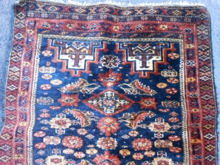 Persian Baluch, late 19th century, 1-10 x 2-2 (.56 x .66), rug was hand washed, good pile, very good condition, silk highlights, minor side loss - wrapped over, fine weave, browns oxidized,  ...