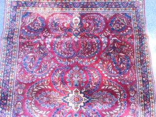 """Persian Sarouk, early 20th century, 3-5 x 4-11 (1.04 x 1.50), very good condition, full pile, original knotted fringe ends, ends overcast, original edges, rug was hand washed, """"painted"""", plus shipping."""