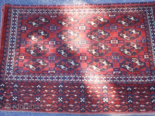 Turkman Yomud Chuval, early 20th century, 2-6 x 3-11 (.76 x 1.19), very good condition, full pile, fine woven, rug was hand washed, plus shipping.