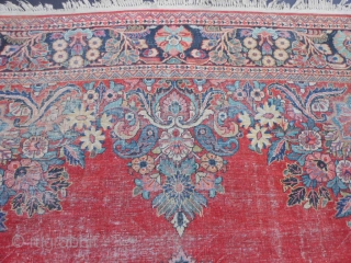Persian Sarouk, circa 1940, 8-9 x 11-9 (2.67 x 3.58), original ends and edges, worn, no holes or rot or hard places, sewn on fringe, rug was washed, plus shipping.