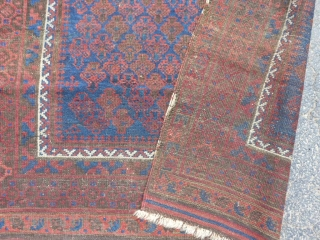 Persian Timuri Baluch, late 19th century, 3-4 x 4-11 (1.02 x 1.50), browns oxidized, hand washed, floppy handle, some of kilim ends on both ends, original side wrapping (needs more wrapping), super  ...