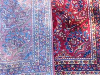 Persian Sarouk, early 20th century, 3-5 x 4-11 (1.04 x 1.50), very good condition, hand washed, full pile, ends overcast, original knotted fringe, original edges, plus shipping.