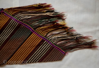 Elazig area Shavak Kurdish Kushak or belt, Late 19th century. Very finely spun wool in good colors.  Woven in a long band and coiled and stitched together to form a tube.  ...