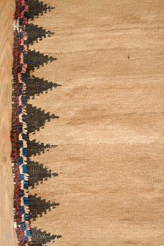Kordi Sofreh Kilim, Late 19th century.  Camel wool field.  Wonderful workmanship on the ends.  85 x 152 cm