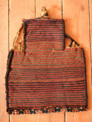 Lori/Qashqai SW Persian Salt Bag, Last quarter of the 19th Century.  All natural colors.  In complete, great condition.  Edge wrapping appears original.  The strap is original and intact  ...
