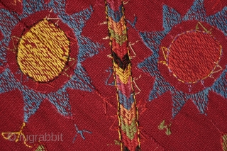 Kungrat Bugzhoma/Bohcha, Late 19th Century/1900.  Used to wrap up clothing in the round yurt or mudbrick dwelling. Beautiful rich crimson red seven-panel ground weave joined together.  Silk embroidery in vibrant  ...