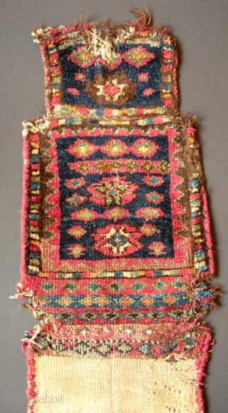 Jaff Salt Bag, Last quarter of the 19th Century.  Great meaty piece with fantastically saturated colors.  It is a bit beat up but remarkable in its striking colors of deep  ...