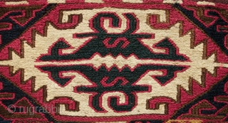 Adana or surrounding area ala chuval storage bag. Late 19th century.  Wonderful colors.  An excellently done repair on one of the sides and a spot on the kilim section. In  ...