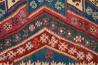 Malatya Rashwan Kilim, 4th Quarter of 19th century to early 20th century.  Gorgeous saturated colors.  In solid condition.  A section of the border has been repaired.  Faded colors  ...