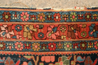 Bijar Rug, Late 19th century to early 20th Century.  Fantastic range of colors and overall design.  It great condition with full pile.  Cotton warps.  Tight weave and stiff  ...