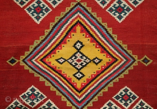 Qashqa'i Kilim, 4th quarter of 19th century. Very tight and fine weave and on the thin side. All natural dyes. A refined and wonderful composition. In great condition. 150 x 302 cm