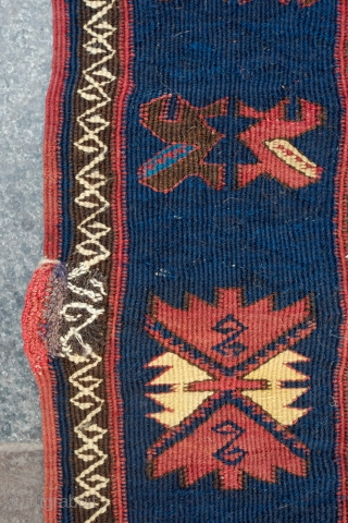 Davaghin Kilim, Daghestan, Late 19th Century.  Fantastic fine and precise weave.  It has a couple of small, nicely darned holes. 160 x 500 cm.