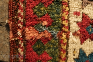 Lambalo Kazak Rug, 3rd to 4th quarter of the 19th century. Excellent colors. Great purple and green. Nice thick pile. There are a few small areas old repiling in the corroded browns.  ...