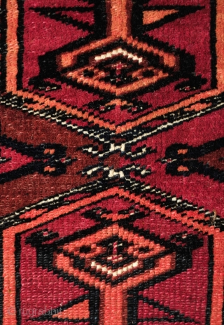 Saryk Torba, kejebe design. Late 19th century. Great condition. Fine and tight weave.  The kejebe design bears a spiritual significance and one can argue one of the more powerful designs in  ...
