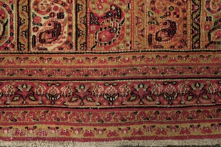 Mashhad Carpet, 3rd quarter of the 19th century. Kashmir shawl striped design.  Very fine weave. Mellow, subtle colors with a wonderful soft green.  156 x 267 cm.