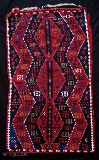 Sinanli Yastik, Late 19th Century. Overall very good condition.  White cotton highlights and full of metallic thread all over.  Two small holes on the front side. 53 x 91 cm.  ...