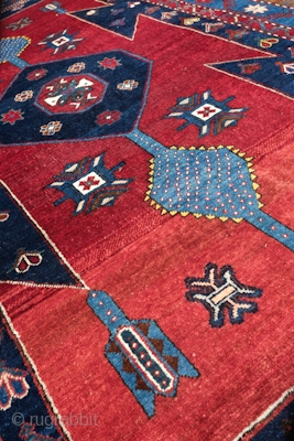 Kazak, Early 1900s.  Wonderful colors and some abrash on the bottom end.  Good pile. A beautiful decorative rug.  144 x 231 cm.