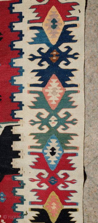 Balkan Kilim in a Rashwan Kurdish Design, Late 19th/Early 20th Century.  Very fine and tight weave.  Unusual and in great condition.  Great strong colors.  157 x 392 cm