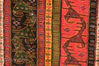 Sivas Zara or Gurun Wool Shawl. Late 19th Century.  All natural colors in a Kashmir-like design in scrolling vines.  Minor damage on a small section of the bottom fringe. Reasonably  ...