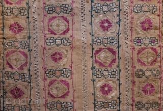 Mihrab Designed Crete Silk Embroidery on Linen, Early to Mid-19th Century.  Wonderful metallic outer border intricately intertwined.  The design is in four elongated mihrab forms filled with cochineal, green and  ...