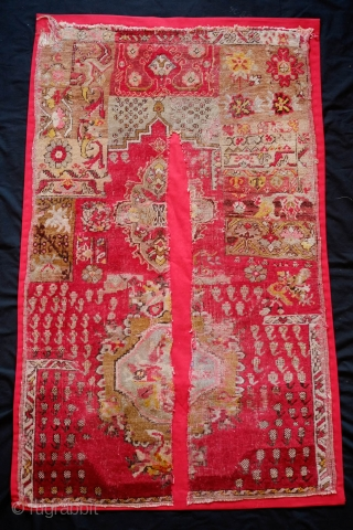 Mudjur-Kirsehir Prayer Rug Sampler/Wagireh, Mid-20th Century.  It has a tear down the middle but has been mounted on a thick red cotton fabric. The wool is of excellent quality.  Not  ...