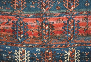 Arapgir Kurdish rug, 19th century.  Excellent, soft wool.  Fine weave. Repeated rows of cartouche-like trees.  Some wear in the section shown in the 4th image and along the selvedges.  ...