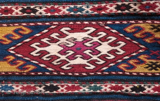 Caucasian Mafrash. Possibly Karabagh. Fourth quarter of the 19th Century. Wonderful deeply saturated natural colors.  This one has a touch of chemical dye in one of the central hooked medallions.   ...
