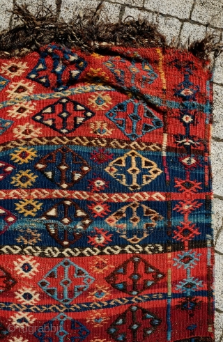 Malatya Kilim, 19th Century.  Fantastic colors.  It has a small hole in one of the ends obscursed by the end braiding otherwise in great condition.  70 x 274 cm.  ...