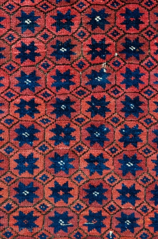 Baluch Rug, Torbat-e Haidari? 3rd to 4th quarter of the 19th Century.  Wonderfully archaic border. It appears that the rug was started by a younger, less experienced weaver and then continued  ...