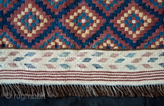 Tatari Kilim, Late 19th/Early 20th Century.  A very atypical weaving from this weaving group in Afghanistan.  Good natural dyes.  Goat hair warps.  A unique piece.  70 x  ...