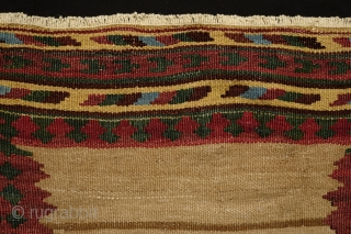 Qashqa'i small sofreh, 3rd to 4th quarter of 19th century. It may be what is referred to as a tea sofreh for use for a tea service.  Fantastically saturated natural colors.  ...