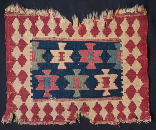 Shahsavan Kilim Bag Face, 3rd quarter of 19th Century.  The central field of stars has wonderful poise. The colors are soft and incredible.  All natural dyes.  The damage is  ...
