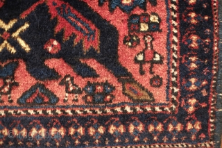 Afshar bag face. 1890-1910 or so.  Great and unusual animal figure. Looks like a kind of pheonix.  The wool is incredibly soft and the colors are all natural.  There  ...