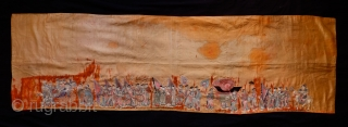 Qing Era 19th Century Embroidery Panel.   Silk on silk.  Very meticulously and precisely executed embroidery of very high quality. The scene appears to be of a wedding procession of  ...