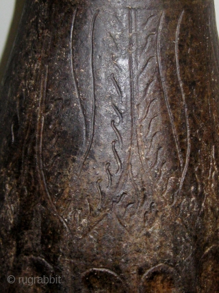 "14th-15th Century oversize Khmer temple vase, incised decoration on  the upper half, faceted bottom half, some restorations.  Approximately 24"" high, 11"" across at its widest.  Please ask for additional  ..."