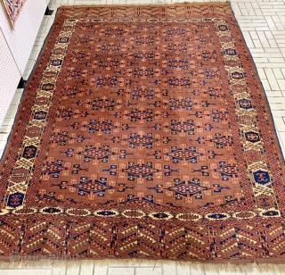 """Antique Yomut main carpet with """"kepse"""" gul, circa 1880-1890.  All dyes natural.  Fresh from a Florida estate.  Please ask for additional photos if needed."""