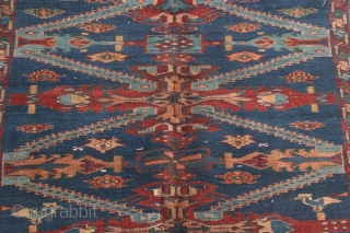 """Antique Caucasian Kuba Seychour long rug, circa 1890-1910.  5'2"""" by 10'5"""".  Some old reweaves in the center.  Very reasonably priced."""