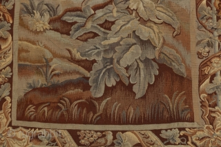 """Antique French 19th century verdure tapestry.  Originally sold by Vojtech Blau in New York in 1990.  From an Atlanta GA estate.  10'6"""" by 4'8""""."""