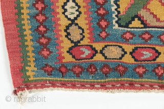 "Antique Bidjar kilim runner, circa 1890-1900.  All natural dyes, including a beautiful yellow gold and green.  Birds in the central medallion.  Some old repairs. 46"" by 180""."