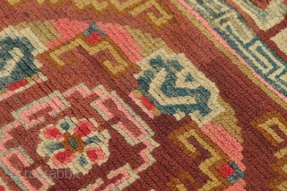 """Tibetan sitting square (khagangma), first quarter of the 20th century, in good condition.  Approximately 32"""" by 29"""".  Dyes are a mixed bag.  At least 9 colors.  Please ask  ..."""