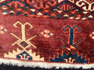 Antique 19th century Kizil Ayak 9 gul chuval, all dyes natural, with traditional well developed chemche secondary gul, and an unusual elem.  Just found.  Please ask for additional photos if  ...