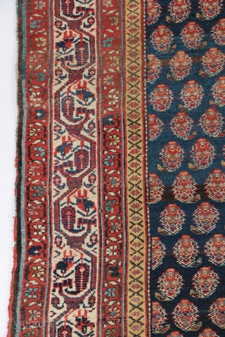 "Antique Kurdish rug, Bidjar area, circa 1900-1910. 4'8"" by 9'4""."