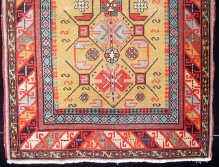 Antique South Caucasian small rug (Kuba?), extremely fine weave, velvety feel, all natural dyes, cotton foundation (warps and wefts), beautiful olive green field, in lovely condition, and basically complete with three cord  ...