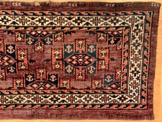 Antique late 19th century Turkmen Yomud (Yomut) torba with kepse gul. In lovely condition, all dyes appear natural.  Please ask for additional photos if needed.