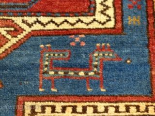 Large Antique Caucasian Kazak, Double Niche Rug, Wool, AS Is.