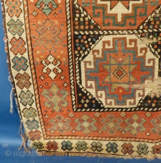 "Antique Caucasian Mogan, c. 1875-1900, used and shows wear, ends and edges are frayed but NO holes or tears. Measures 101"" X 45"".  Has been cleaned.