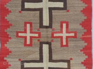 """Navajo Weaving, Wool, c. 1890-1010, 73"""" X 42"""", Great Condition, Great Design, Lots of """"Lazy Lines"""" Wearing Blanket Weight (?) Available..."""