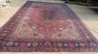 Antique Persian Carpet, Sarouk(?), c.1890-1920 (?), 13' X 20' Good lightly worn condition with 2 small burn holes near the one end. Contact me for more info and additional pictures.