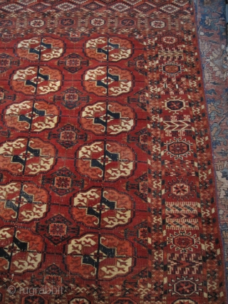 Very rare square size (1.37 x 1.40) 19th Century Turkmen Tekke Rug with very fine weave, marvelous colors and original condition with no repairs. Missing corner (2cm x 5cm) and small dark  ...