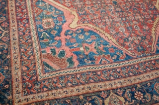 """Old Bijar, 1800s, tatter to ends and sides, even knot heads across, some foundation showing. Fantastic colors, great design, great size. 7'1"""" x 10'2"""". Contact for more info."""